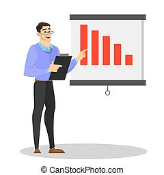 Man making business presentation and pointing at the graph