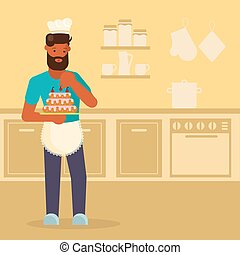Man making cake vector illustration in flat style