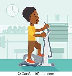 Man making exercises. - An african-american man exercising...