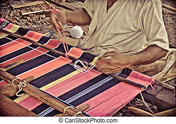 Man Making Ghongadi, desi blanket from sheep wool, India