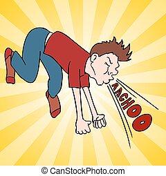 Man Making Loud Sneeze - An image of a man making a loud...
