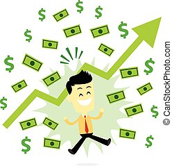 A Man Jumping Happily, Make it Rain Money and Dollar Signs (in Flat Cartoon Style)