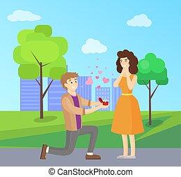 Man Making Proposal to Woman, Vector Illustration