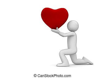 Man making proposition - Love, valentine day series; 3d ...