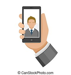 Man Making Selfie Photo on Phone Flat Icon. Vector