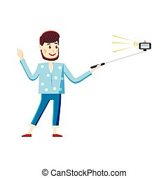Man making selfie with a stick icon, cartoon style