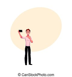 Man making selfie, photo of himself with smartphone, showing thumb up, cartoon vector illustration with space for text. Full length portrait of young man in making selfie with mobile phone
