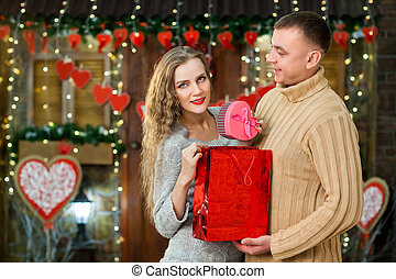 man making surprise to his girl on valentine's day