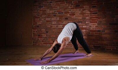 Man making yoga posture