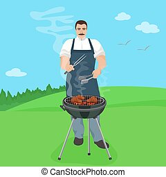 Man male cook preparing meal on the grill. Barbecue in nature jard vector illustration.