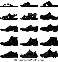 A set of men shoes or footwear in silhouette vector.