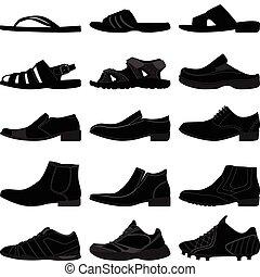 Man Male Men Shoes Footwear - A set of men shoes or footwear...