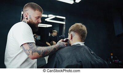 man, male., process., baard, het scheren, garneersel, kapper...