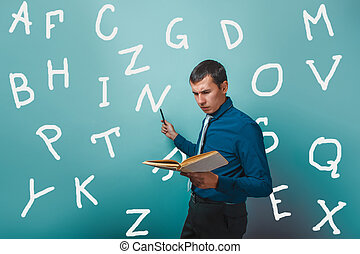 man Male teacher holding a book shows alphabet letter on infographics