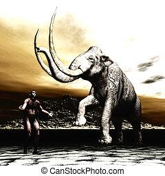 man, mammoet, prehistorisch