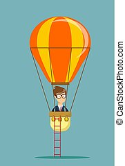 Man man in air balloon.