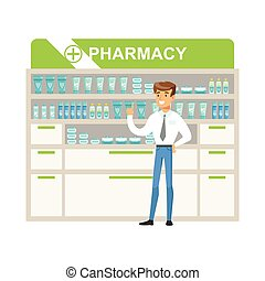 Man Manager In Pharmacy Choosing And Buying Drugs And Cosmetics, Part Of Set Of Drugstore Scenes With Pharmacists And Clients