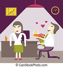 Man Manager offers a woman to marry him, but is denied on Valentine's Day in the office. Flat isolated vector illustration