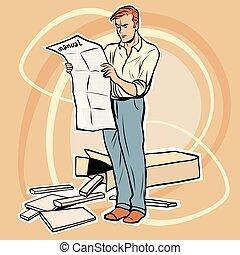 man manual assembling furniture