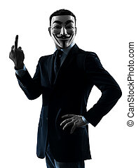 man masked anonymous group pointing finger silhouette portrait
