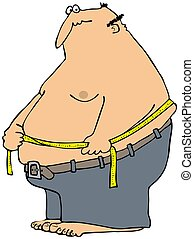 This illustration depicts a large, fat man measuring his waist size.