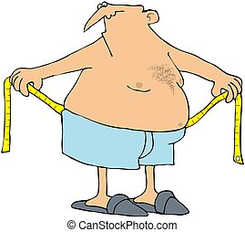 This illustration depicts a man measuring his large waist.