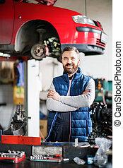 Man mechanic in a car garage.