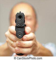 man, med, a, gevär