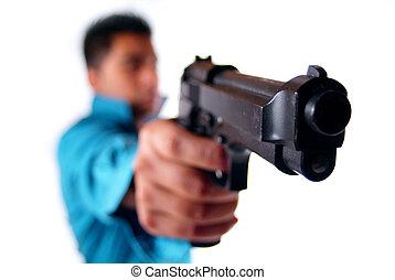 man, med, a, gun.