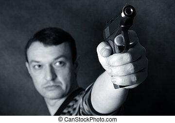 man, med, a, pistol