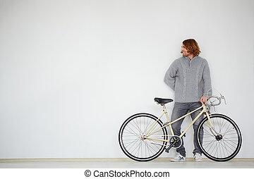 man, med, cykel