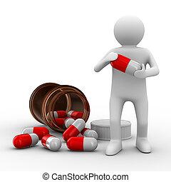 man, med, flaska, för, tablets., isolerat, 3, avbild