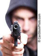 man, med, gevär, gangster, fokusera, på, den, gevär