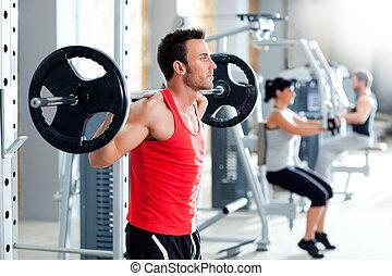 man, med, hantel, viktutbildning, utrustning, gymnastiksal