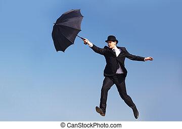 man, med, paraply