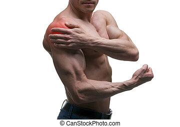 man, med, smärta, in, knuffa, värk, in, muskulös, hane...