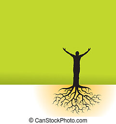 man, med, träd, rötter