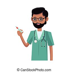 man medical nurse cartoon icon over white background. ...