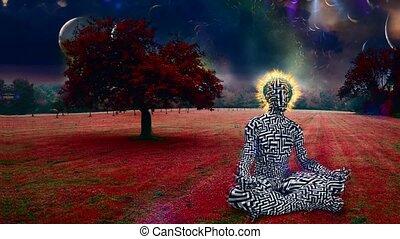 Man meditates in lotus pose