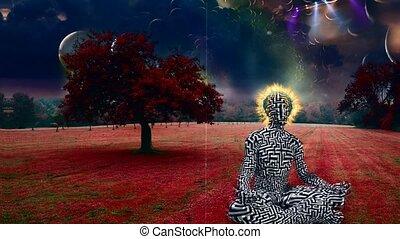 Man meditates in lotus pose. Surreal landscape
