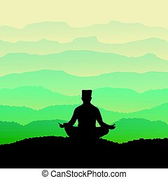 Man meditates in the nature. Vector illustration.
