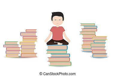Man meditates on a pile of books