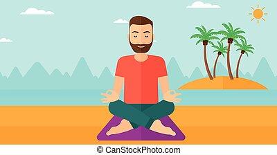 Man meditating in lotus pose.