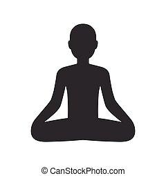 Man meditating in lotus pose sketch icon. A man meditating ...