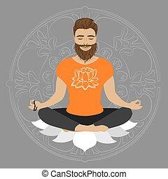 Man meditating in lotus pose