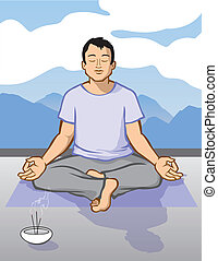 Man Meditating - Vector Illustration of a man in a state of...