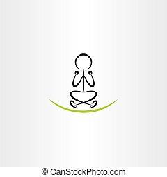 man meditating yoga vector icon illustration