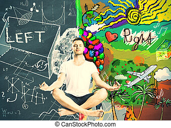 Man meditation and thinking about left and right sides of human brain concept