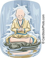 Man Meditation Falls Illustration - Illustration Featuring a...