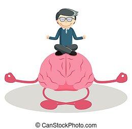 Man meditation with brain
